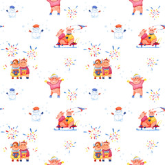 Illustration series Winter Holidays  Pigs. X-mas seamless pattern