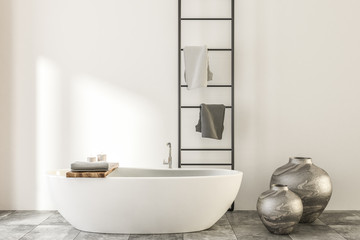 Marble and wooden bathroom, white tub vases