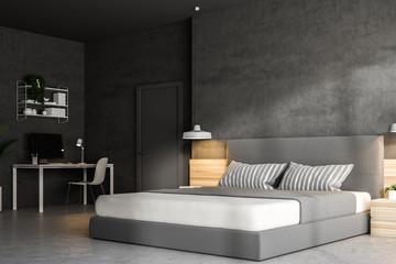 Concrete bedroom corner, home office