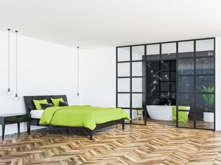 White bedroom corner, green double bed