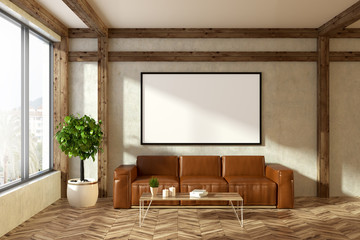 Leather sofa in beige living room, poster