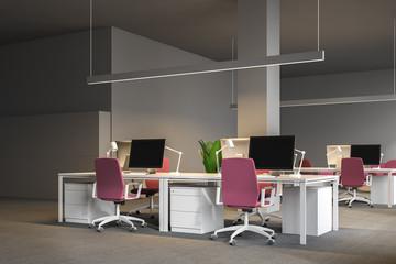 Gray open plan office corner, corporation