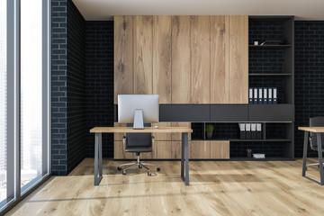 Loft modern office corner, black brick front view