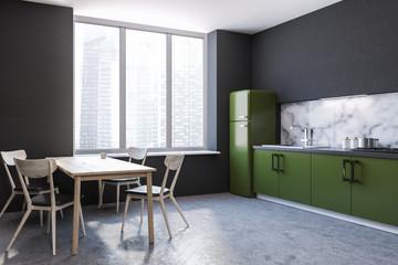 Kitchen corner, green countertops, table