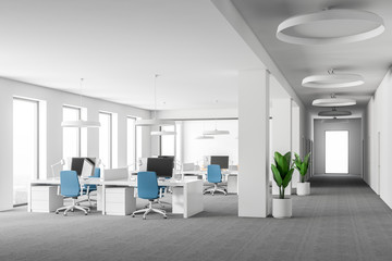 White open space office interior, blue chairs