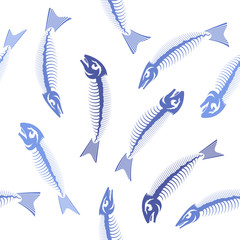 Blue Fish Bone Skeleton Seamless Pattern. Sea Fishes Icons.