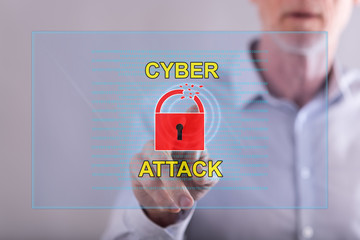 Man touching a cyber attack concept