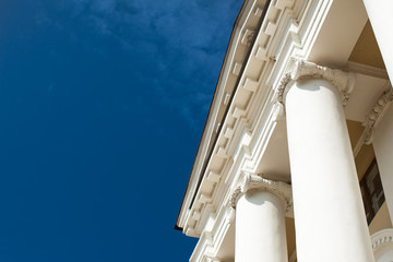 Low angle view of sky and columns Architectural Column Against clear Blue Sky sunny day