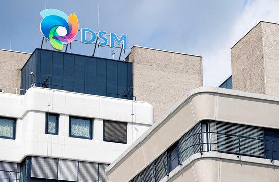 DSM logo is seen on top of the roof at the headquarters in Heerlen