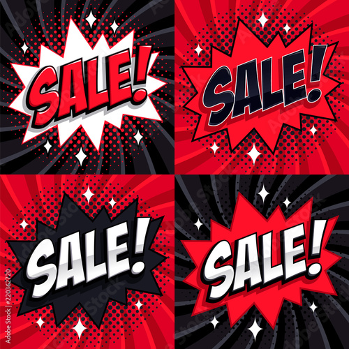 Black friday sale set comic style template banners 4 sale comic style template banners 4 sale inscriptions on black and maxwellsz