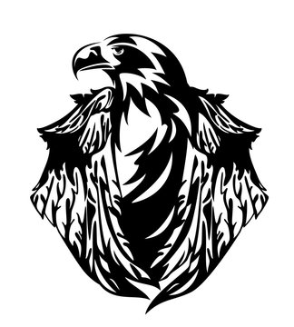 stellers sea eagle with closed wings black and white vector design