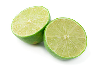 Lime slices isolated on a white background