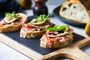 Various of Cured Ham and Fig Bruschetta
