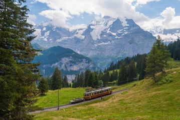 railway in the picturesque mountains of the Swiss Alps