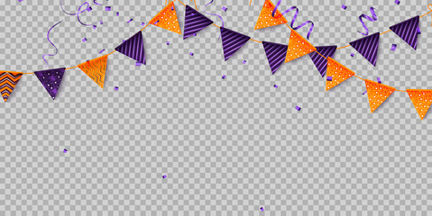 Halloween party decorations. Halloween flags - violet and orange. Vector