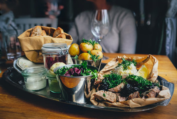 Rustic lunch served on a silver tray