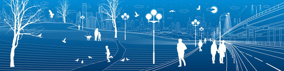 City scene. Car overpass bridge. People walk along the sidewalk. Evening illuminated park. Kids are playing. Birds are flying. Modern night town on background. Vector design art