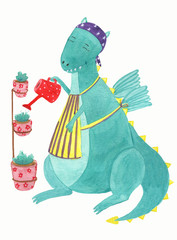 Cute dinosaur with watering can