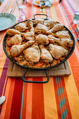 a large paella on the table