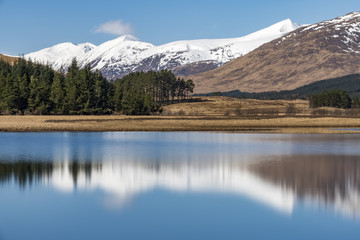 Loch Tulla on the West Highland Way between Bridge of Orchy and Inveroran in the Scottish Highlands, Scotland, United Kingdom, Europe