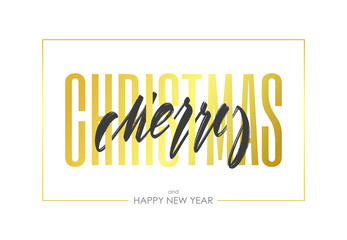 Vector illustration: Greeting card with lettering composition of Merry Christmas on white background.