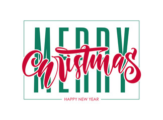 Vector illustration: Typography lettering composition of Merry Christmas and Happy New Year.