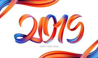 Vector illustration: Brushstroke paint lettering calligraphy of 2019 Happy New Year. Trendy design.
