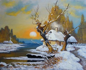 Oil paintings winter landscape. Old village, river. Fine art.