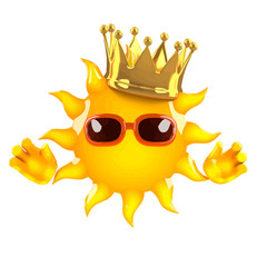 Vector 3d King Sun in gold crown