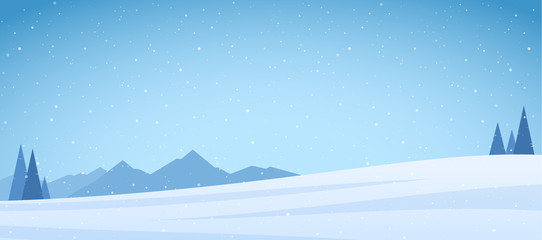 Poster Lichtblauw Vector illustration: Winter snowy Mountains landscape with pines and field