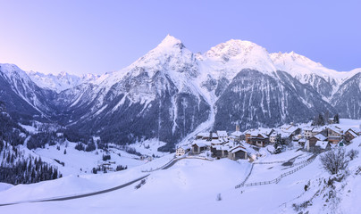Delicate tones during twilight at Latsch, Bergun, Albula Valley, Prattigau/Davos, Canton of Graubunden, Switzerland, Europe