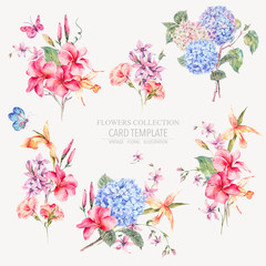 Vector vintage floral set of hydrangeas, orchids