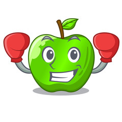 Boxing cartoon of big shiny green apple