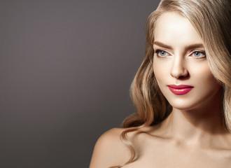 Amazing Woman Blond. Beautiful Girl studio face portrait.