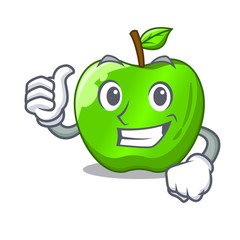 Thumbs up character ripe green apple with leaf