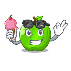 With ice cream character ripe green apple with leaf
