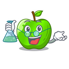 Professor character ripe green apple with leaf