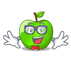 Geek character ripe green apple with leaf