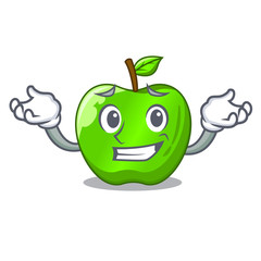Grinning character ripe green apple with leaf