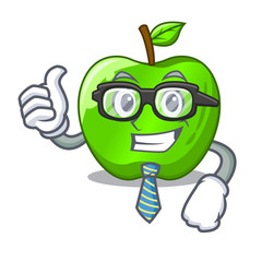 Businessman character ripe green apple with leaf