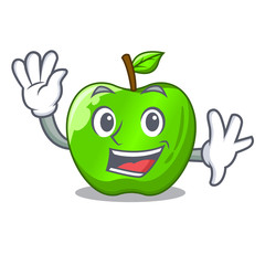 Waving character ripe green apple with leaf