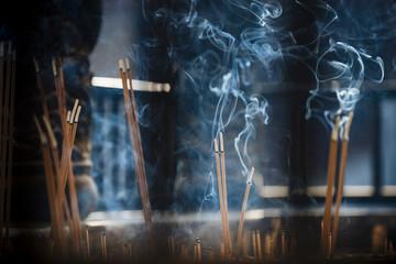 Incense sticks, Yuantong Buddhist Temple, Kunming, Yunnan Province, China, Asia