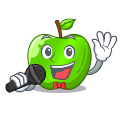Singing perfect fresh green apple on cartoon