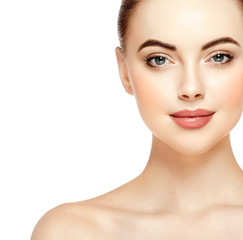 Beautiful skin woman face closeup beauty lips and eyes isolated on white