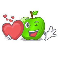 With heart perfect fresh green apple on cartoon