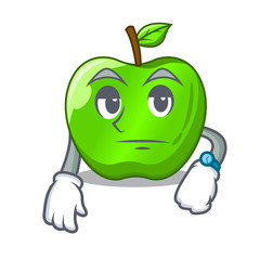Waiting green smith apple isolated on cartoon