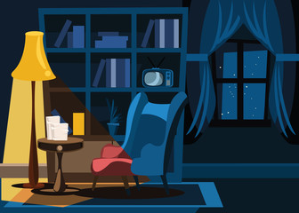 living room in night vector illustration