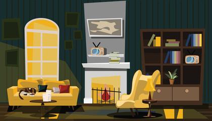 cat in living room vector illustration