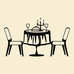 dining table drawing vector illustration