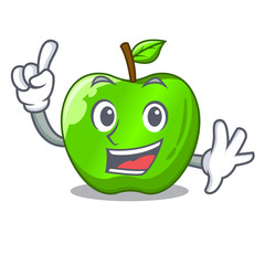Finger green smith apple isolated on cartoon